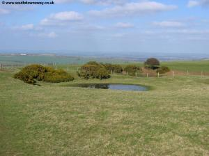 A dew pond on top of the downs